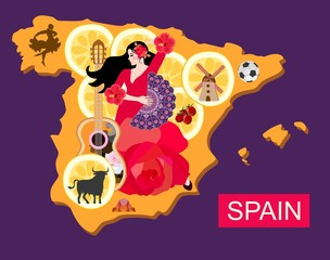 Stylized spain map with flamenco dancer girl, guitar, black bull, mill, football, pieces of lemon and toreador silhouette.