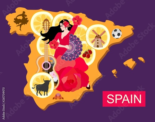Football Map Of Spain.Stylized Spain Map With Flamenco Dancer Girl Guitar Black Bull