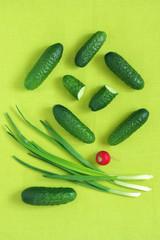 Fresh vegetables on green
