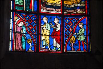 vitrail de la cathédrale de Bourges en France