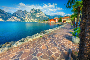 Wall Mural - Summer flowers and stunning promenade, lake Garda, Torbole, Italy, Europe
