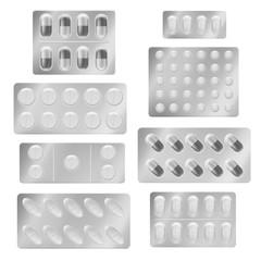 Realistic blister packs pills. Medical tablet capsules painkiller drugs vitamin antibiotic aspirin. Medicine packing vector set
