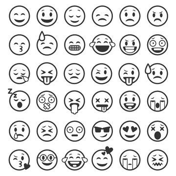 Emoticons outline. Emoji faces emoticon funny smile line black icons expression smiley facial people humor mood, flat vector set