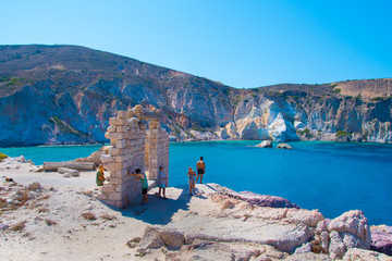 Firopotamos traditional village with turquoise waters in Milos greek island, Greece