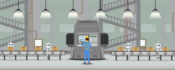 Conveyor line with machine