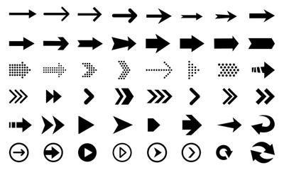 Big vector set of black flat arrows and direction pointers, isolated on white background.