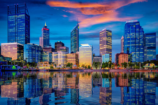 Sunset in Perth city with building and river
