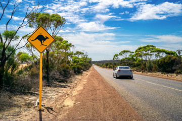 Wall Mural - Country outback with yellow kangaroo road sign