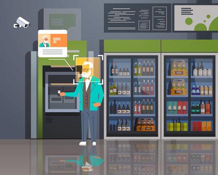 senior man withdrawing money ATM cash machine identification surveillance cctv facial recognition concept modern grosery shop supermarket interior security camera system horizontal