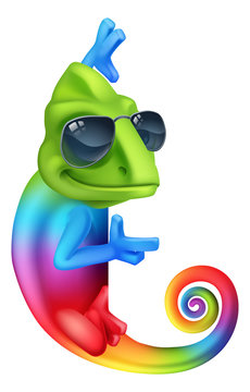 A chameleon cool rainbow color cartoon lizard character in sunglasses or shades peeking around a sign and pointing