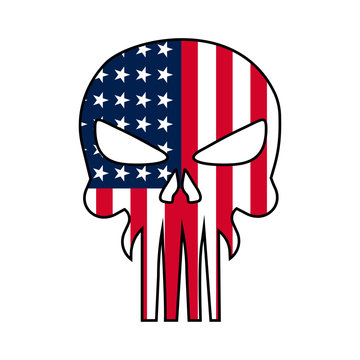 Skull illustration with USA national flag