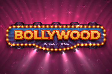 Bollywood background. Indian cinema poster with text and spot light, Indian cinematography stage. Vector 3D Bollywood film event poster