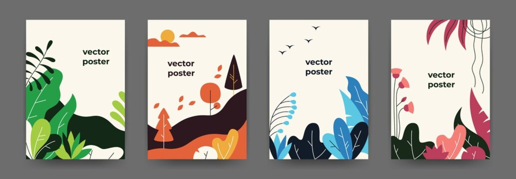 Flat plant posters. Gradient abstract geometric banners with copy space floral frames, jungle leaves and plants. Vector cover landscape design