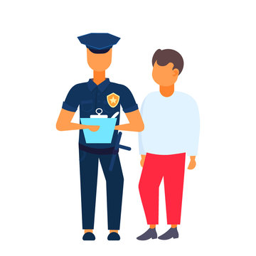 man driver with police officer standing together policeman in uniform writing report white background flat full length