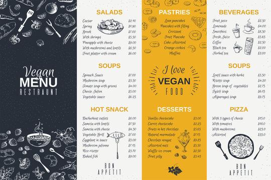 Hand drawn restaurant menu. Food cooking vintage template, doodle breakfast and diner cafe flyer. Vector menu card poster vintage design
