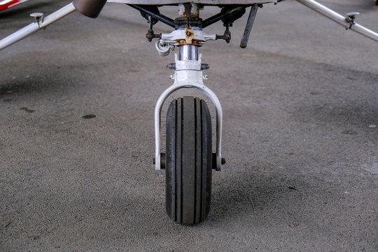 Landing gear close up, light sport aicraft wheel