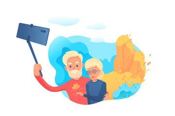 Elderly couple making selfie vector illustration