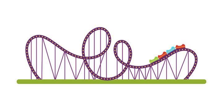 Roller coaster flat vector illustration