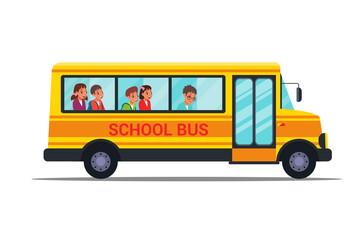 School bus flat vector illustrations set