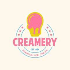 Vintage ice cream shop logo badge and label, gelateria sign. Retro logotype for cafeteria or bar.