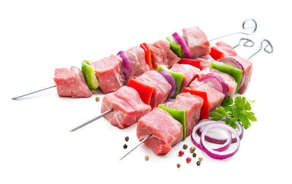 Kebabs - raw meat and vegetables on skewers, ready for grilling
