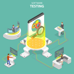 Isometric flat vector concept of software quality assurance, SQA, product testing and debugging, programming and coding.