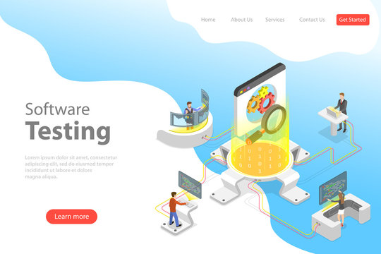 Isometric flat vector landing pate template of software quality assurance, SQA, product testing and debugging, programming and coding.