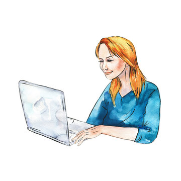 Young woman sitting with laptop. Hand drawn watercolor and ink illustration.