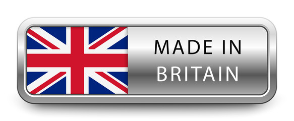 Fototapeta MADE IN BRITAIN metallic badge with national flag isolated on white background obraz