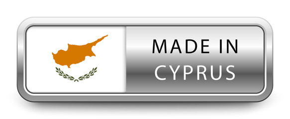 MADE IN CYPRUS metallic badge with national flag isolated on white background