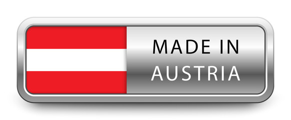 MADE IN AUSTRIA metallic badge with national flag isolated on white background