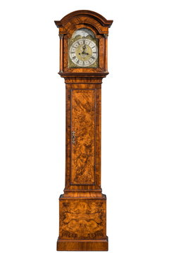tall longcase grandfather clock isolated on white