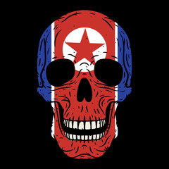 Human skull with North Korean flag isolated on black background.