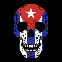 Human skull with Cuban flag isolated on black background.