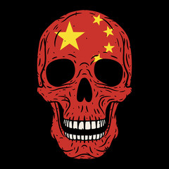 Human skull with Chinese flag isolated on black background.