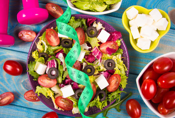 Fresh vegetable salad with feta cheese. Proper nutrition.
