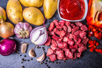 Ingredients for the preparation of traditional Hungarian goulash.