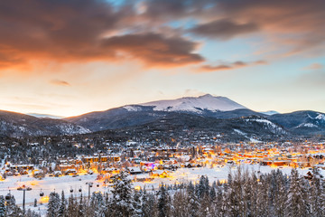 Breckenridge, Colorado, USA Town Skyline in Winter
