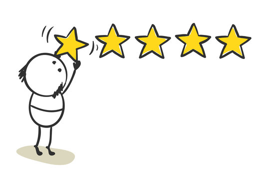 Five stars. Funny man leaves his review, vector illustration.