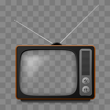 Retro Television Set Viewer Mock Up Isolate on Transparent Grid