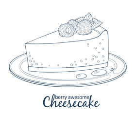 Cheesecake with raspberry icon isolated on white background. Hand drawn vector illustration black and white colors