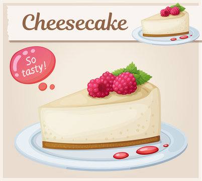 Cheesecake with raspberry icon. Cartoon vector illustration. Series of food and drink and ingredients for cooking