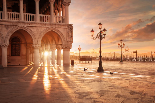 San Marco in Venice, Italy at a dramatic sunrise