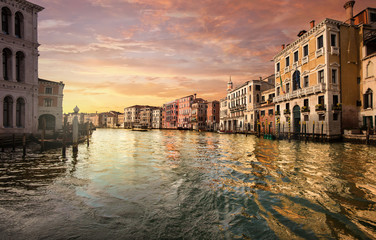 Canale Grande at sunset in Venice Italy Fototapete