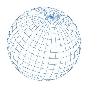 wired sphere frame illustration / blue