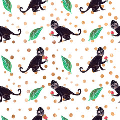 Frieda black monkey seamless pattern with green leaves and golden dots