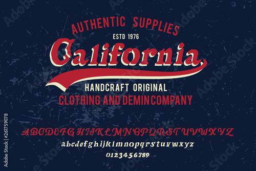 California  Original font and logo  Print on shirt or