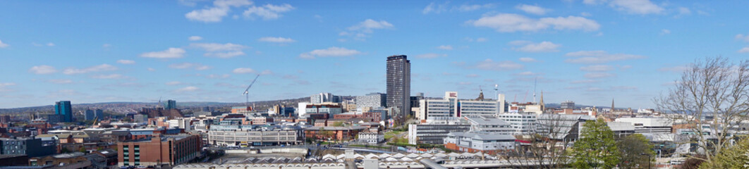 View of Sheffield City Centre from Park Hill on a sunny morning