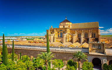 Panoramic view on the garden of Mezquita