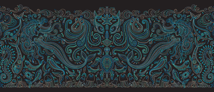 Vector seamless pattern. Fantasy mermaid, octopus, fish, sea animals green blue contour thin line drawing on a black background. Embroidery border, wallpaper, textile print, wrapping paper